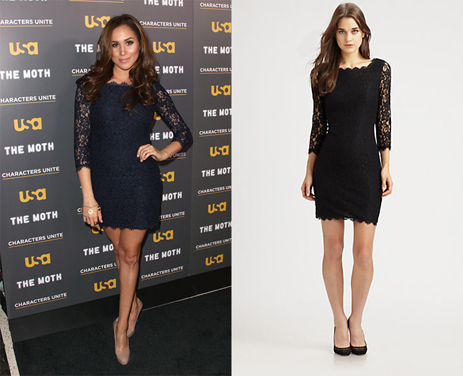 Meghan Markle in Diane von Furstenberg Zarita lace dress at USA event at the Pacific Design Center in West Hollywood, CA on February 15, 2012.