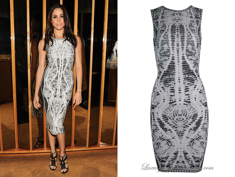 Meghan Markle in Herve Leger snake print dress at fashion after party in NYC