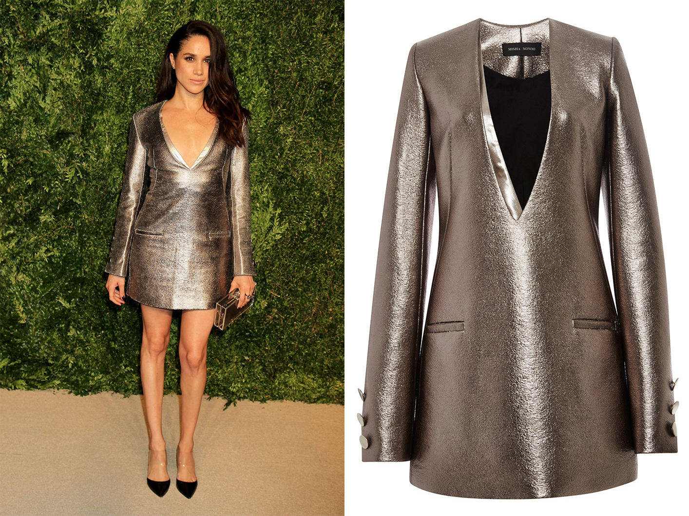 Meghan Markle in Misha Nonoo metallic dress at the 12th annual CFDA/Vogue Fashion Fund Awards at Spring Studios on November 2, 2015 in New York City.
