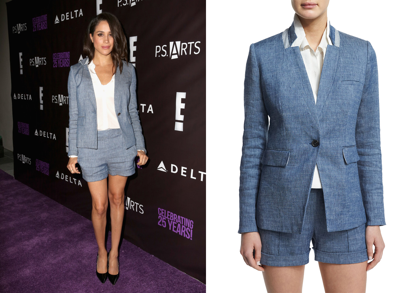 Meghan Markle in Veronica Beard Boca combo romper and blazer at the P.S. Arts The Party in Hollywood on May 20, 2016.