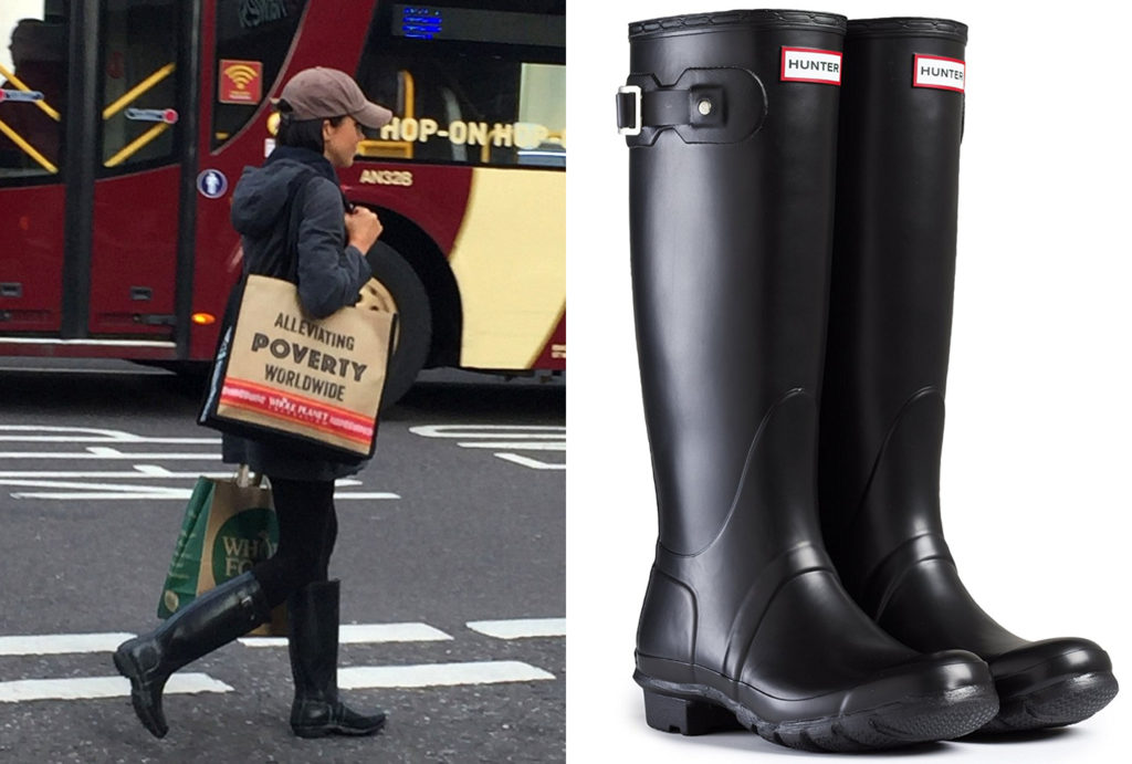 Meghan Markle is spotted shopping for organic produce at the three-storey Whole Foods store on Kensington High Street, just down the road from Kensington Palace, in Hunter Original Wellington Tall Gloss Rain Boots.