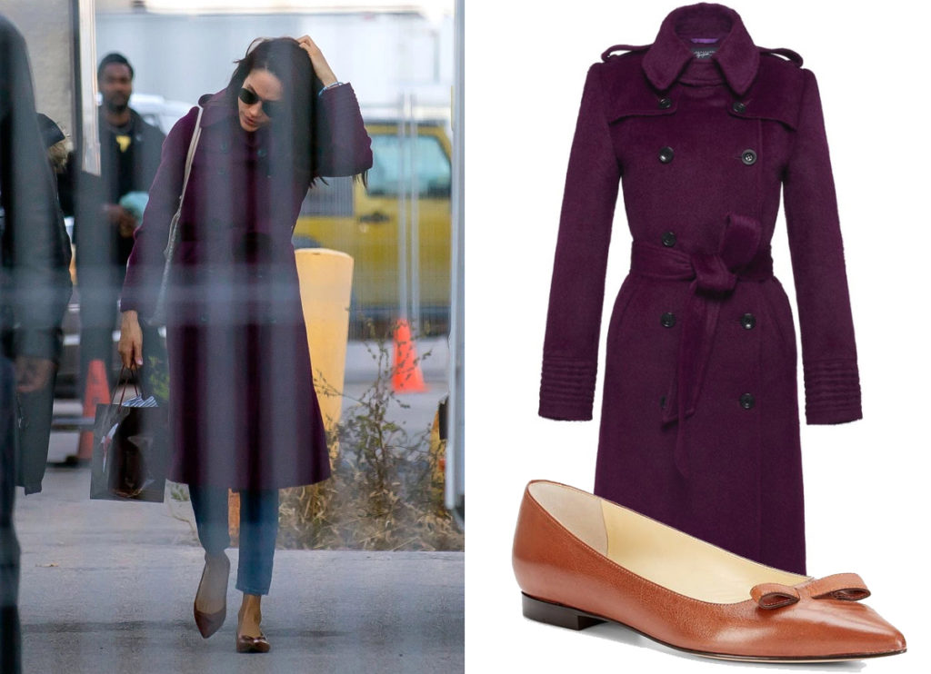 Meghan Markle on the set of Suits in Toronto, Canada, wearing a Sentaler Double Breasted Trench Coat in Mulberry, carrying a Goyard tote and Sarah Flint Natalie Flats on November 18, 2016.