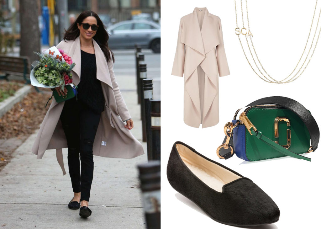 Meghan Markle wearing Harry necklace while shopping for flowers in Toronto, December 3, 2016.