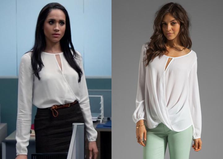 Meghan Markle as Rachel Zane on Suits wearing a Ella Moss 'Stella' wrap blouse in Season 3 Episode 7 airing August 27, 2013.