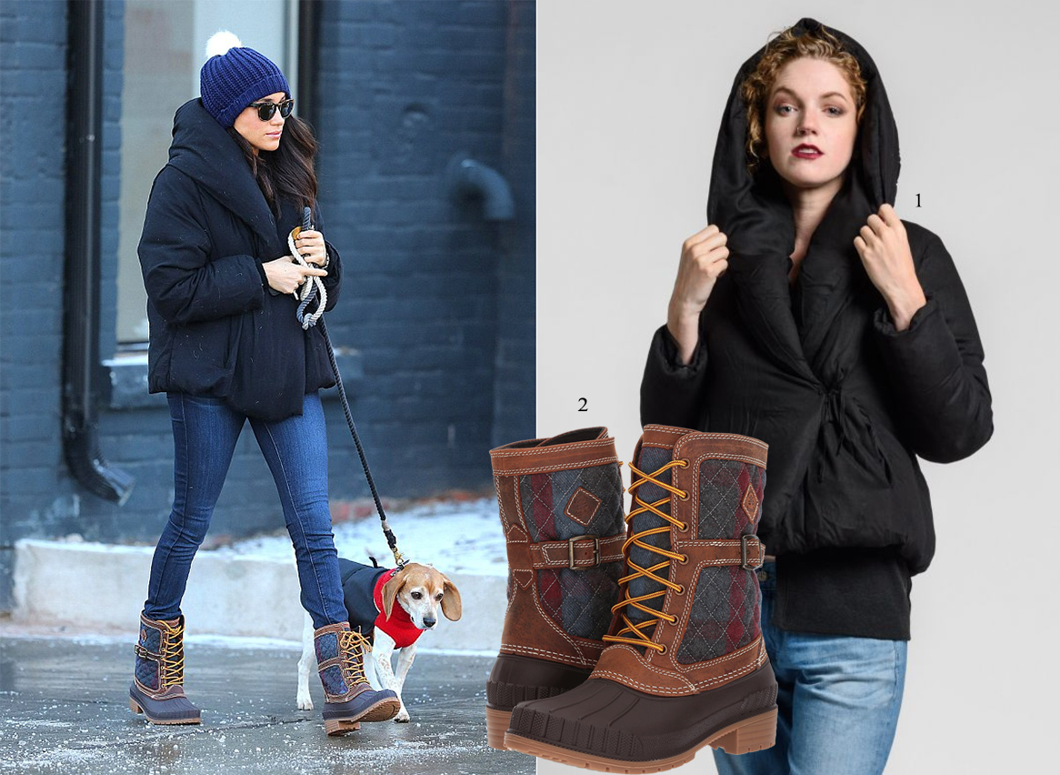 Meghan taking her dog Boggart to the vet in Toronto, wearing Kamik Sienna boots and a Album Di Famiglia Lina Corto Puffy Coat.