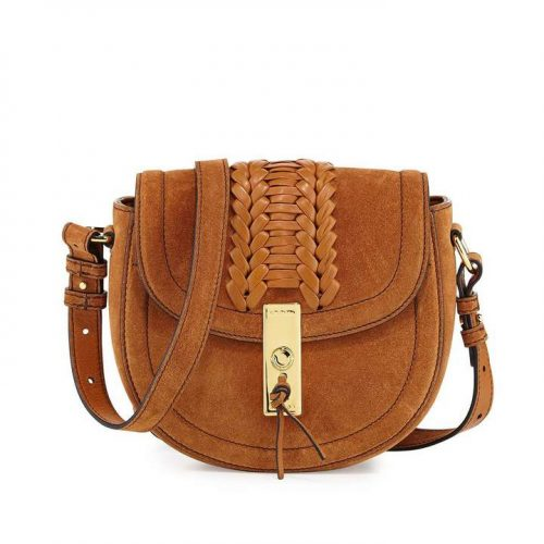 Altuzarra Ghianda Mini Woven Suede Saddle Bag as worn by Meghan Markle