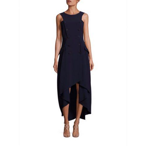 Antonio Berardi Double-Breasted Sleeveless Dress in Dark Blue Navy as seen on Meghan Markle