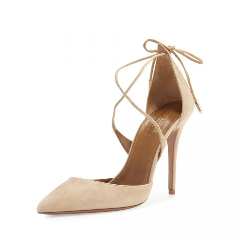 Aquazzura 'Matilde' crisscross suede 105mm pumps in Nude as seen on Meghan Markle