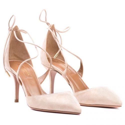 Aquazzura Matilde Crisscross Suede Sandals as seen on Meghan Markle