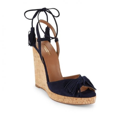 Aquazzura Wild One Leather Wedge Sandals as seen on Meghan Markle
