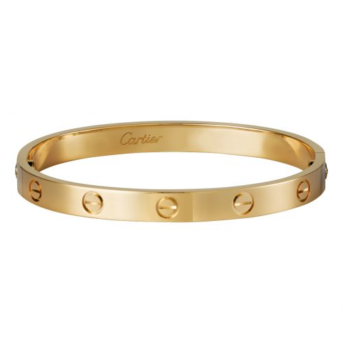 Cartier 4K yellow gold love bracelet as seen on Meghan Markle