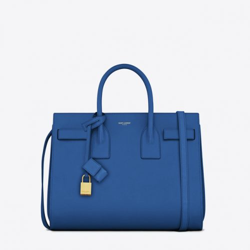 Saint Laurent Classic Sac De Jour Bag in Royal Blue worn by Meghan Markle