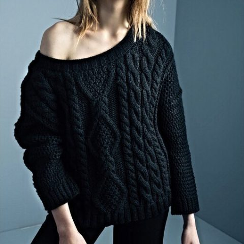 Smythe Cable Knit Shoulder Sweater as seen on Meghan Markle
