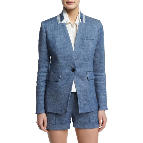 Veronica Beard Orchid Chambray Upcollar Jacket as seen on Meghan Markle