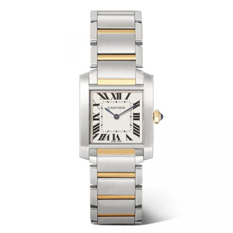 Cartier Tank Française 25.05mm medium 18-karat gold and stainless steel watch as seen on Meghan Markle
