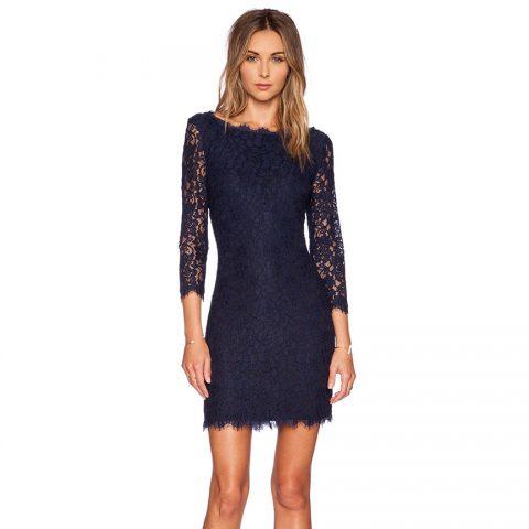 Diane von Furstenberg Zarita lace dress in Midnight as seen on Meghan Markle