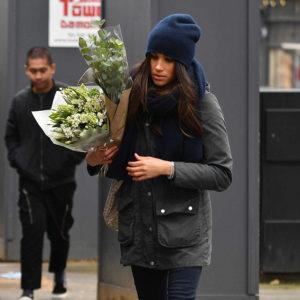 Meghan shopping for flowers in Kensington in London on February 6, 2017.