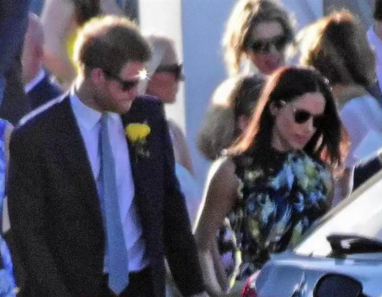 Meghan Markle wearing Mykita Timothy Sunglasses at a wedding in Jamaica with Prince in March 2017.