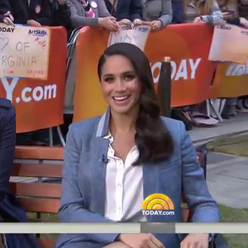 Meghan Markle wearing a Veronica Beard Boca Blouson Combo Romper on the TODAY show in March 2016.