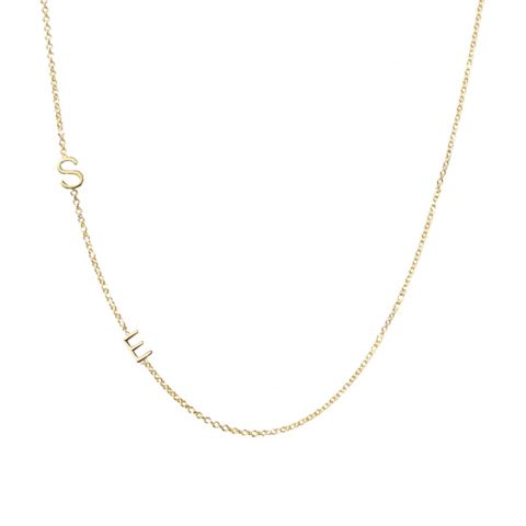 The Right Hand Gal solid gold mini initial necklace as seen on Meghan Markle / Duchess of Sussex
