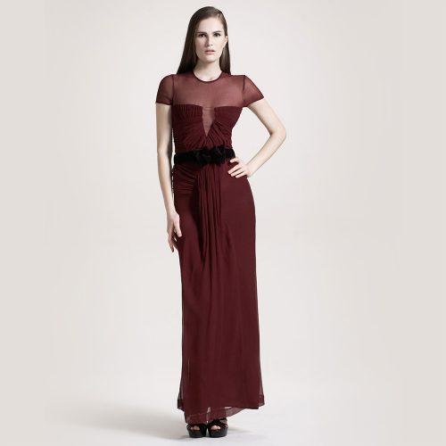 Burberry Prorsum Red Sheer Silk Evening Dress as worn by Meghan Markle