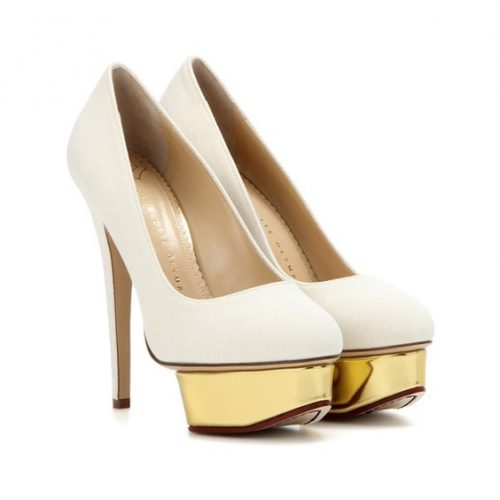 Charlotte Olympia Dolly Platform Pump in White and Gold as seen on Meghan Markle