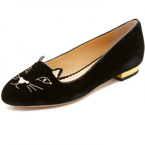 Charlotte Olympia Kitty Embroidered Velvet Slippers as seen on Meghan Markle