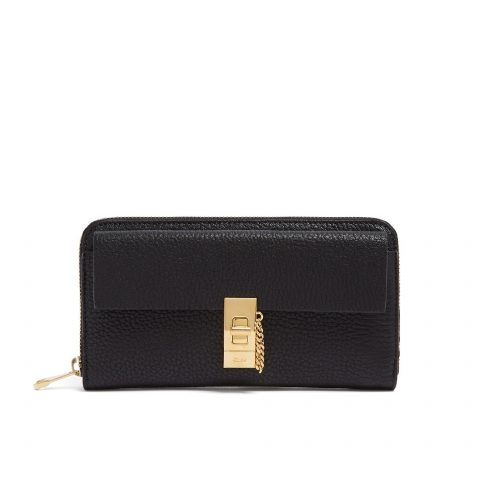 Chloé Drew zip-around leather wallet in Black as seen on Meghan Markle Instagram.
