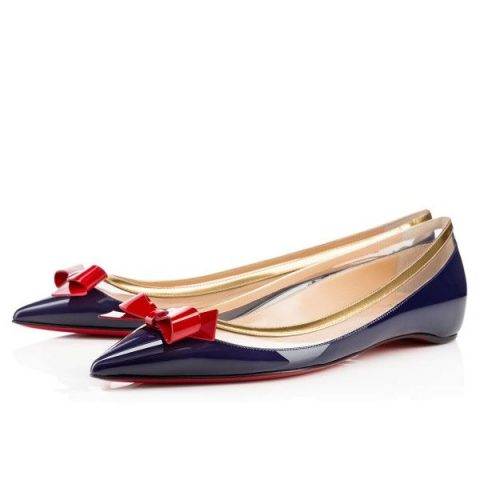 Christian Louboutin Suspenodo PVC Bow Flats in Navy as seen on Meghan Markle
