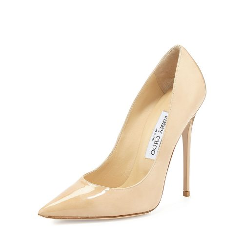 Jimmy Choo Anouk Patent Leather Pump in Nude Beige as seen on Meghan Markle