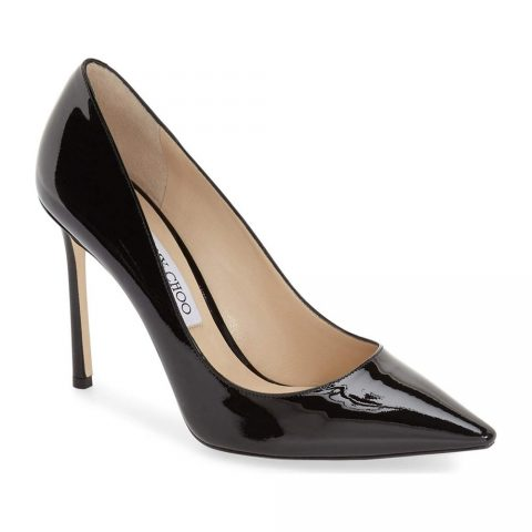 Jimmy Choo 'Romy' Black Patent Pointy Toe Pump as seen on Meghan Markle