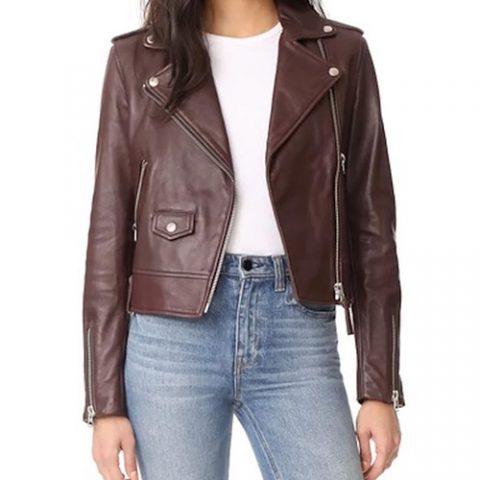 Mackage Baya Leather Jacket in Bordeaux as seen on Meghan Markle