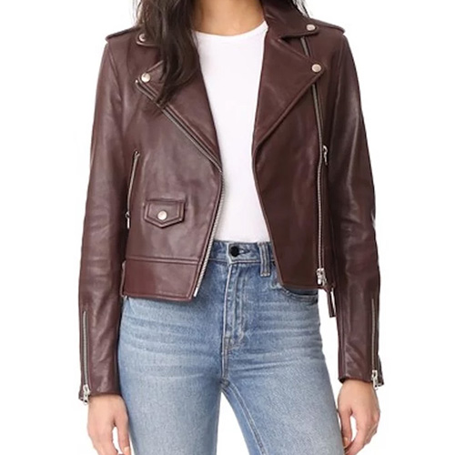 Mackage Baya Leather Jacket in Bordeaux as seen on Meghan Markle