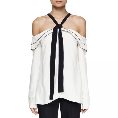 Proenza Schouler Long Sleeve Off-The-Shoulder Blouse as seen on Meghan Markle