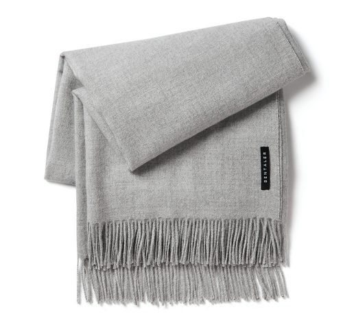 Sentaler New Royal Baby Alpaca Classic Wrap Scarf in Sand Grey as worn by Meghan Markle
