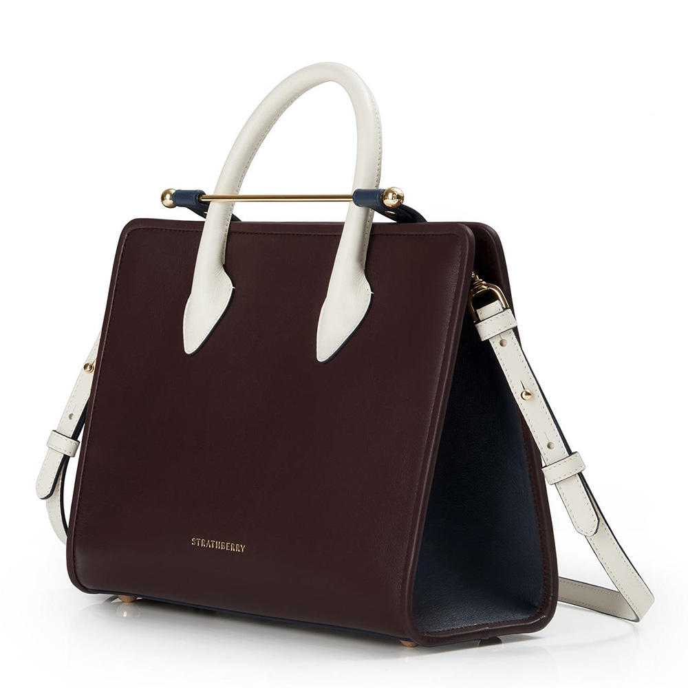 Strathberry Tri Colour Midi Tote in Burgundy/Navy/Vanilla as worn by Meghan Markle