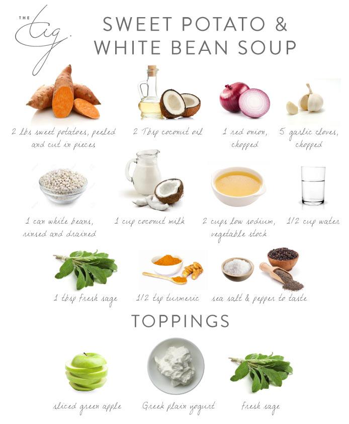 Sweet Potato & White Bean Soup Ingredients Board - The Tig