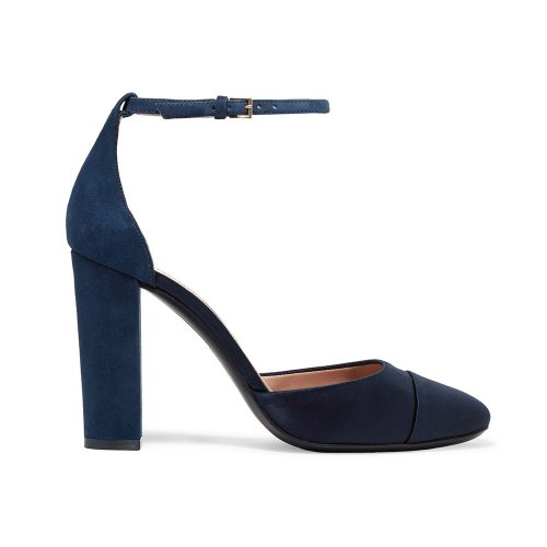 Tory Burch Rousseau Suede And Satin Pumps in Navy as seen on Meghan Markle