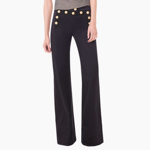 Veronica Beard Shore Sailor Wide-Leg Pants with Gold Buttons as seen on Meghan Markle