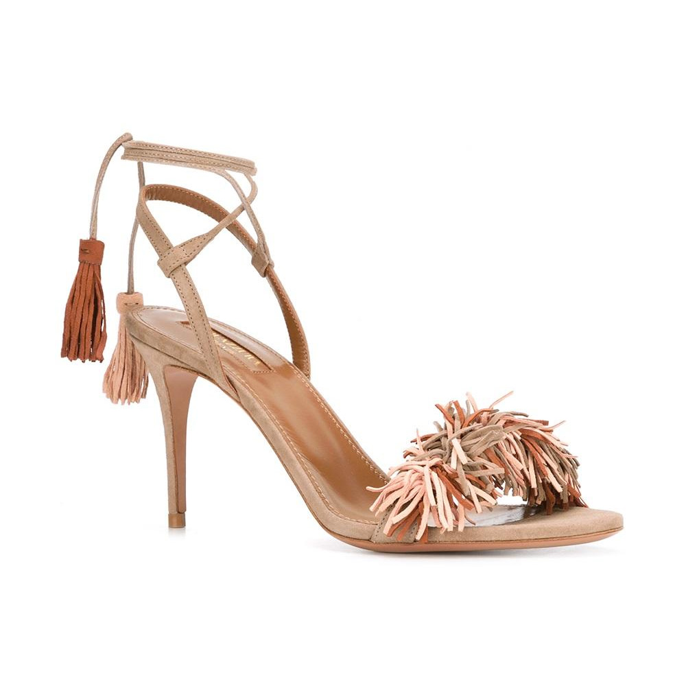 Aquazzura 'Wild Thing' Sandals in Nude as seen on Meghan Markle