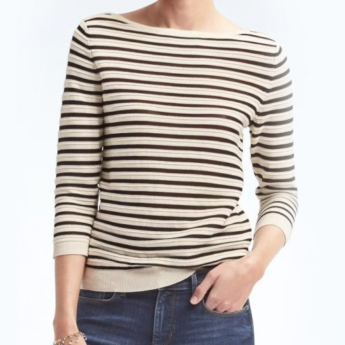 Banana Republic Sailor Stripe Boat-Neck Pullover as seen on Meghan Markle