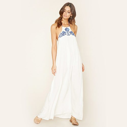 Forever 21 Embroidered Halter Maxi Dress as seen on Meghan Markle