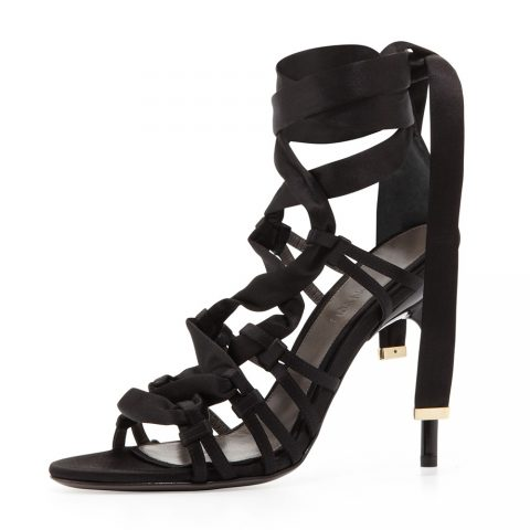 Jason Wu Black Satin Strappy Sandal as worn by Meghan Markle