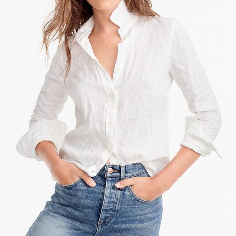 J.Crew Perfect Shirt in piece-dyed Irish linen as seen on Meghan Markle