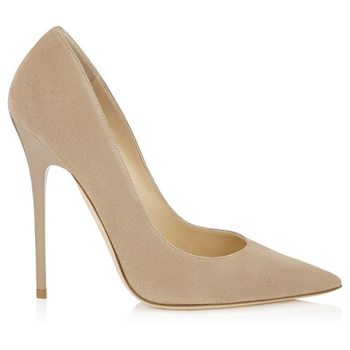 Jimmy Choo Anouk Nude Suede Pointy Toe Pumps as worn by Meghan Markle