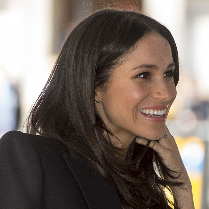 Earring detail: Meghan Markle at Commonwealth Heads of Government Meeting reception meeting delegates from the Commonwealth Youth Forum at the Queen Elizabeth II Conference Centre in London on 18 April, 2018.