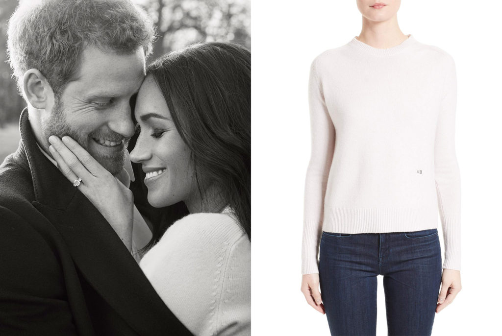 Meghan Markle wearing a Victoria Beckham classic crew neck cashmere sweater for engagement shoot with Prince Harry.