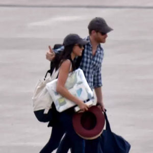 Meghan Markle and Prince Harry touch down in Africa on August 4, 2017.