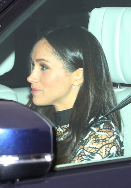 Meghan Markle arriving with Prince Harry to Buckingham Palace for the Queen's annual pre-Christmas lunch on December 20, 2017.
