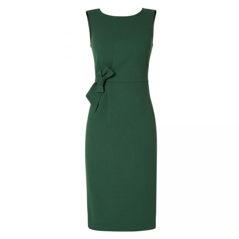 P.A.R.O.S.H. The Megan Bow Detail Dress in Green as worn by Meghan Markle